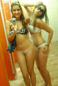 half naked girl and friend pubic hair selfie
