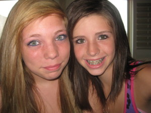2 little girls braces smile look at daddy time to cum target open your mouth