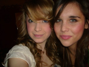 two beautiful young girls pretty faces lots of makeup