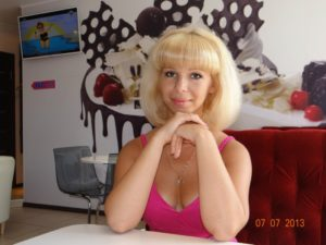 Russian woman puffy blonde hair