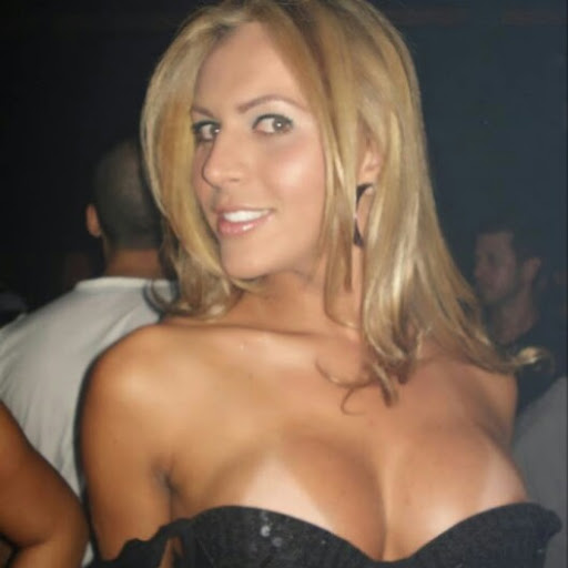 cleavage on blonde woman at bar