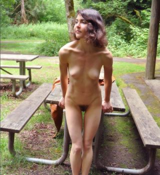 naked girl outdoors hairy bush